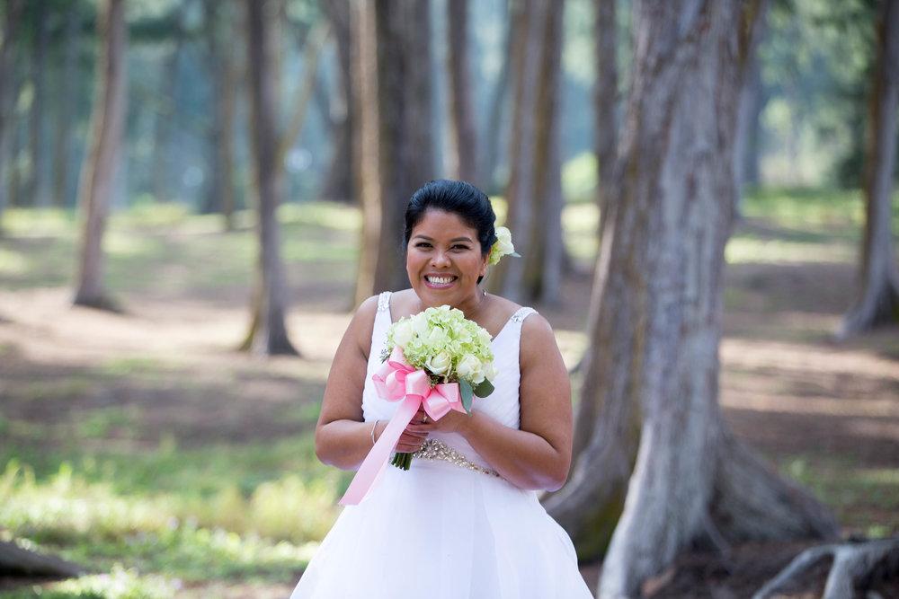 Smiling bride during post wedding photoshoot.
