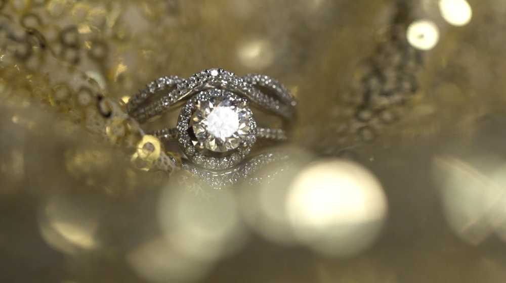 Engagement ring close up.