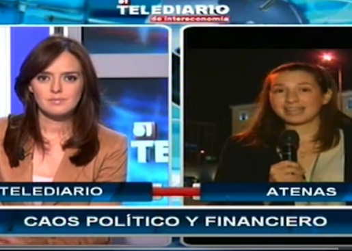 WATCH HERE  (SPANISH)  Ellie Ismailidou joins national Spanish TV network Intereconomía as a correspondent from Athens, Greece, to talk about the major revolt that the Greek Prime Minister is facing from his own party.