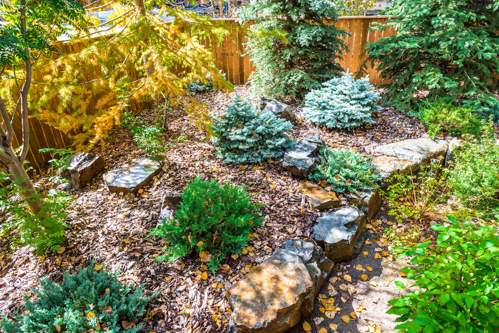 A backyard featuring shrubs, trees, natural stone seats and low maintenance rundle stone tailings in the Calgary and Banff area