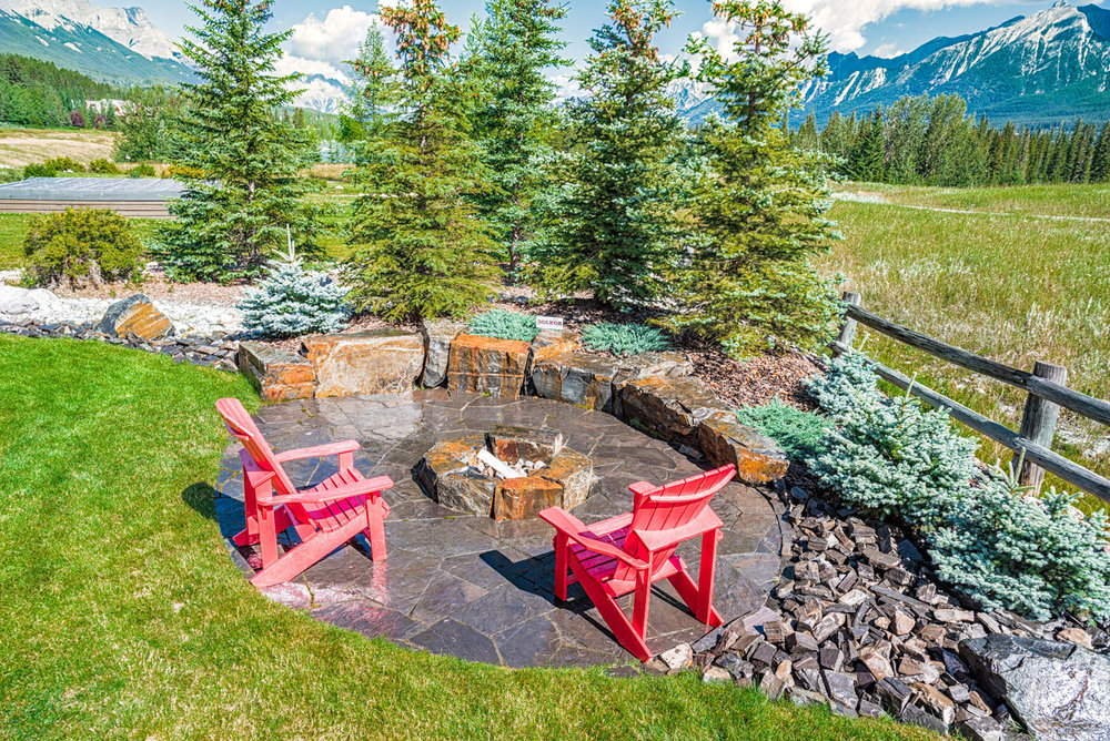 A stone firepit in the Calgary and Banff area