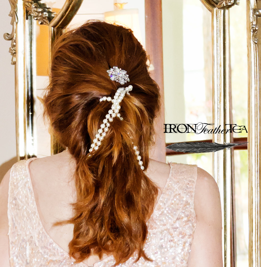 Hair detail. Wrapped in Pearls
