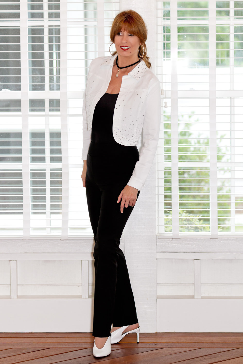 Classic Black Trouser with the Aviana Jacket in White. Ethyl Clothing.