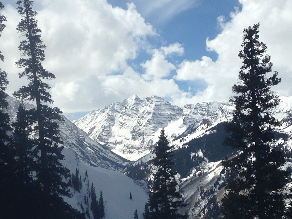 The famous Maroon Bells as seen from Aspen Highlands