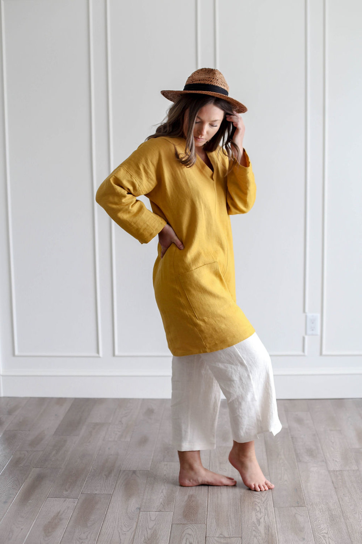 Nomi Designs Handsewn slow fashion mustard tunic.jpg