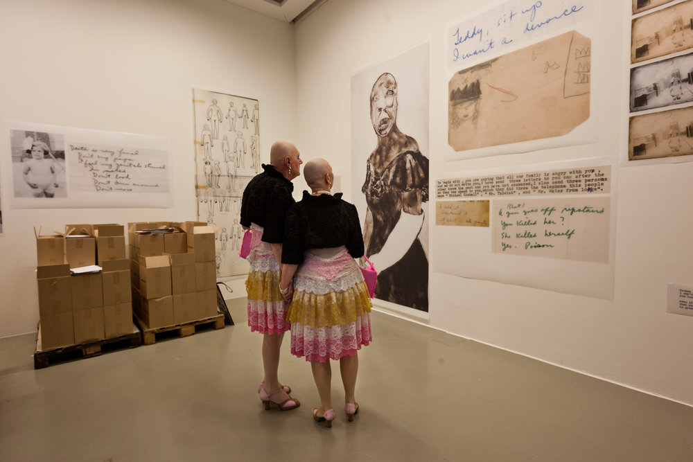 At the center of the American Ida Appleboorg's work stands the human figure with all its neuroses and complexities. For dOCUMENTA(13) she opened her personal archive that had been unseen for 30 to 40 years and exhibits it publicly. A local pair of artists seems impressed.  Kassel, Germany