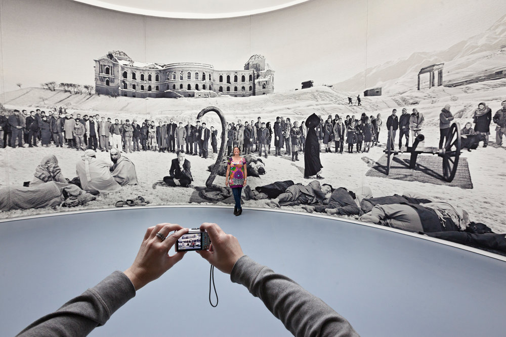 """A digital collage named """"Of what is, that it is; of what is not that it is not"""" by Goshka Macuga investigates the political potential of half truth in an exhibition display. It is one of the most popular exhibits during dOCUMENTA(13).  Kassel, Germany"""