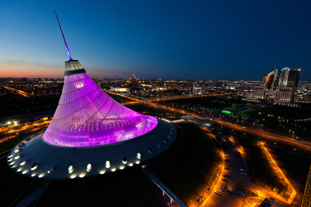 Prize-winning British architect Norman Foster is one of many foreigners who helped shape the city. His purple Khan Shatyr shopping mall has an indoor sand beach and wave pool on the top floor.  Astana, Kazakhstan