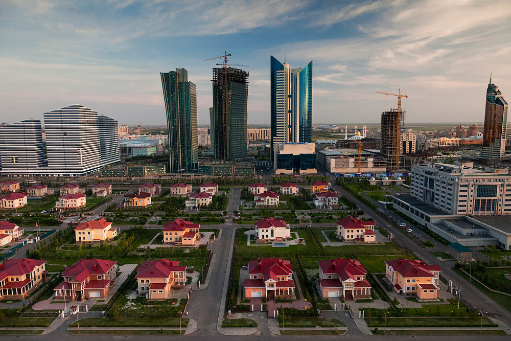 McMansions that could have been airlifted from any American suburb are among the more incongruous sights in Astana, whose architectural style is nothing if not eclectic.  Astana, Kazakhstan