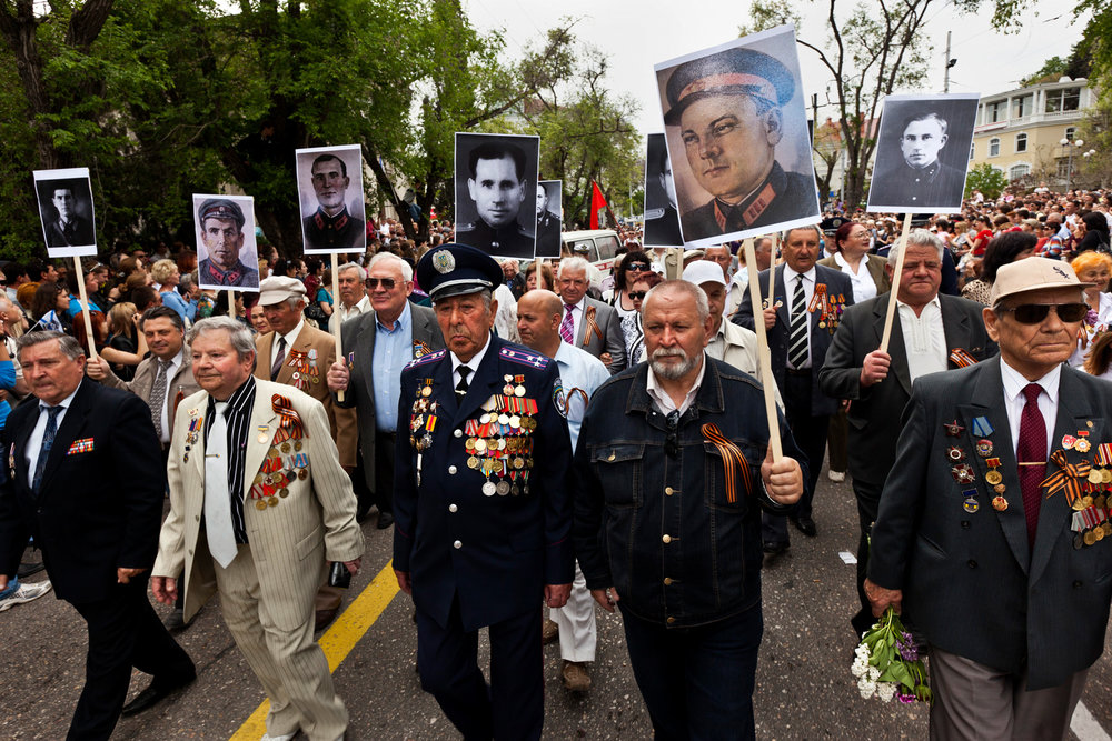 In Sevastopol, Russian and Ukrainian veterans march proudly together to celebrate the annual Victory Day festivities. The persistence of memory is on parade on May 9 when Russian and Ukrainian troops, citizens, and veterans of the Soviet Army honor those who helped defeat Nazi Germany.  Sevastopol, Crimea