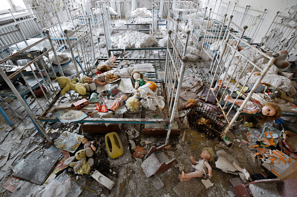 On the day of the disaster, children oblivious to the nuclear accident played in this Prypyat kindergarten, where dolls and toys still scattered on the floor are testament to their hasty departure.  Prypyat, Ukraine