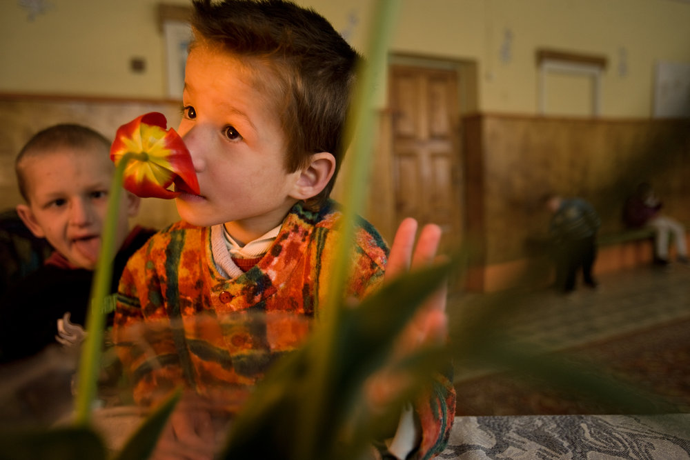 Despite conflicting beliefs even amongst medical personnel, children born in severe fallout regions of Belarus are said to have a higher rate of birth defects and retardation due to Chernobyl's fallout.  Vesnovo, Belarus