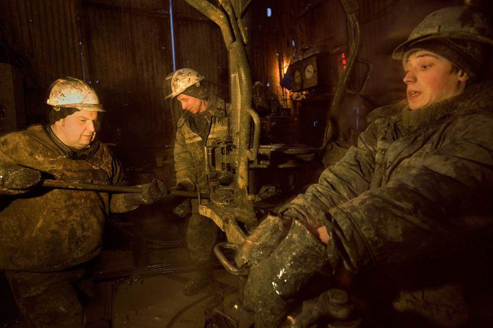 Workers on an oil rig for Surgutneftegas. The oil and gas company giant was among the first to start intensive exploration in Siberia.  Fyodorovsky oil field, Russia