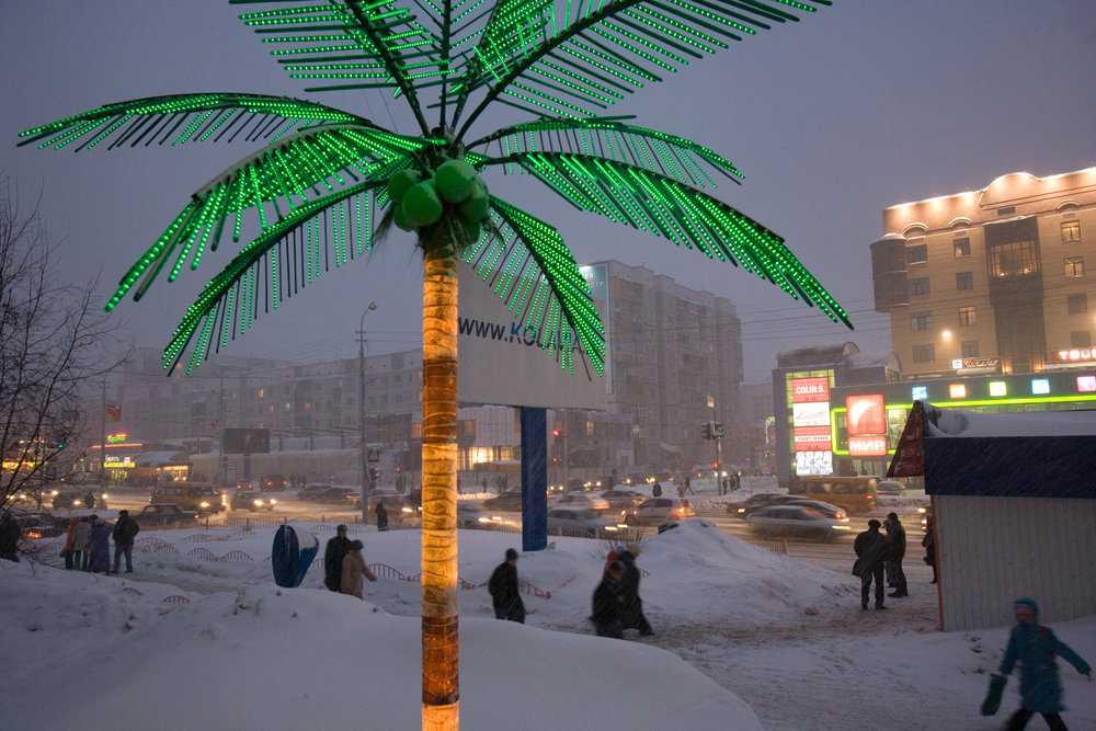 Symbolizing leisure and exotic locales, palm trees are used as a marketing lure by businesses across Siberia.  Surgut, Russia