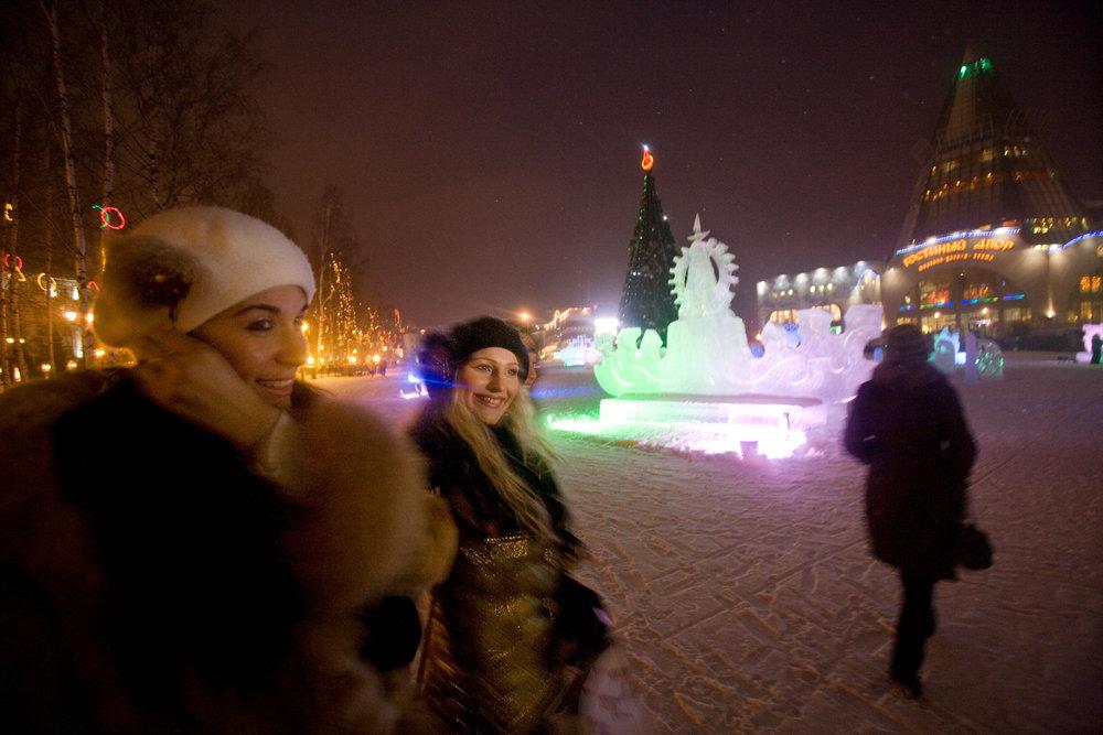 Brightening the long Siberian winter, ice sculptures gleam in Khanty-Mansiysk, resurgent capital of Russia's richest oil region.  Khanty-Mansiysk, Russia