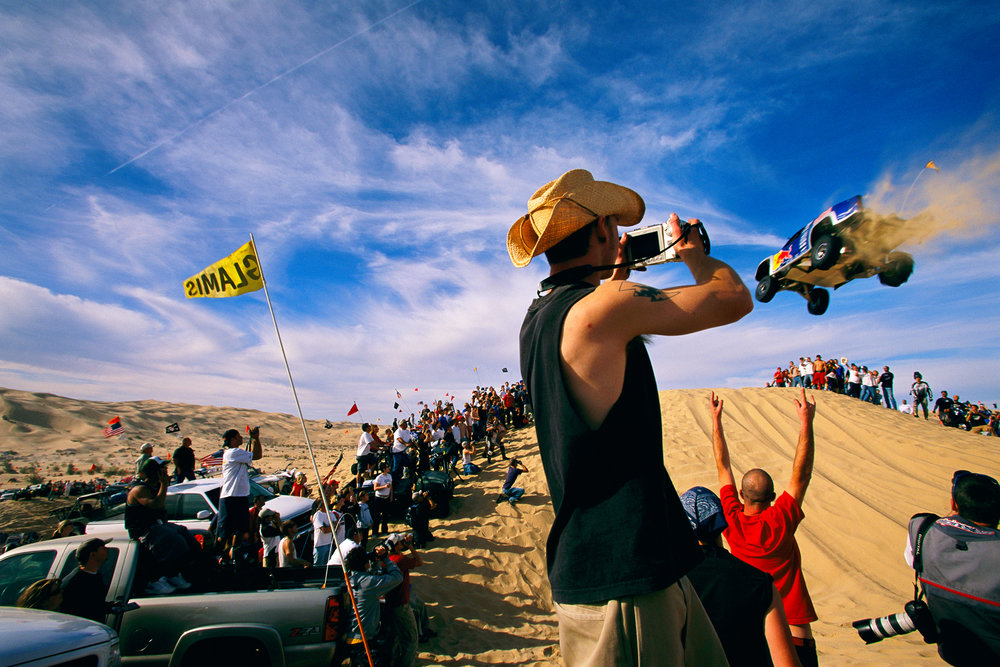 On holiday weekends visitors gather at Glamis Dunes from all over the western U.S. and Mexico to race dune bikes, buggies, and other 4-wheel drive vehicles.  Glamis