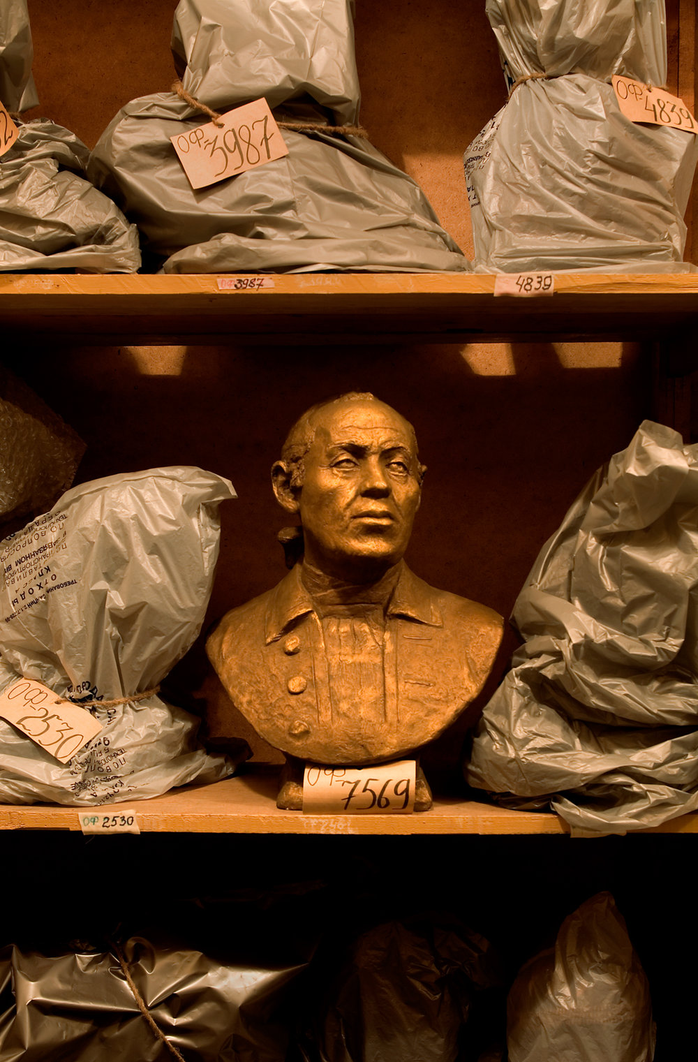 A forensic reconstruction of Vitus Bering in the storage room of the Timiryazev State Museum of Biology.  Moscow, Russia