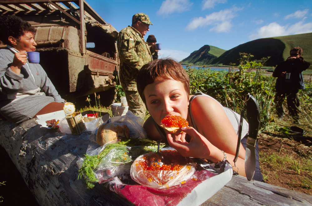 Bering Island's Commander Bay provided fresh fish and caviar for this picnic dinner.  Bering Island, Russia