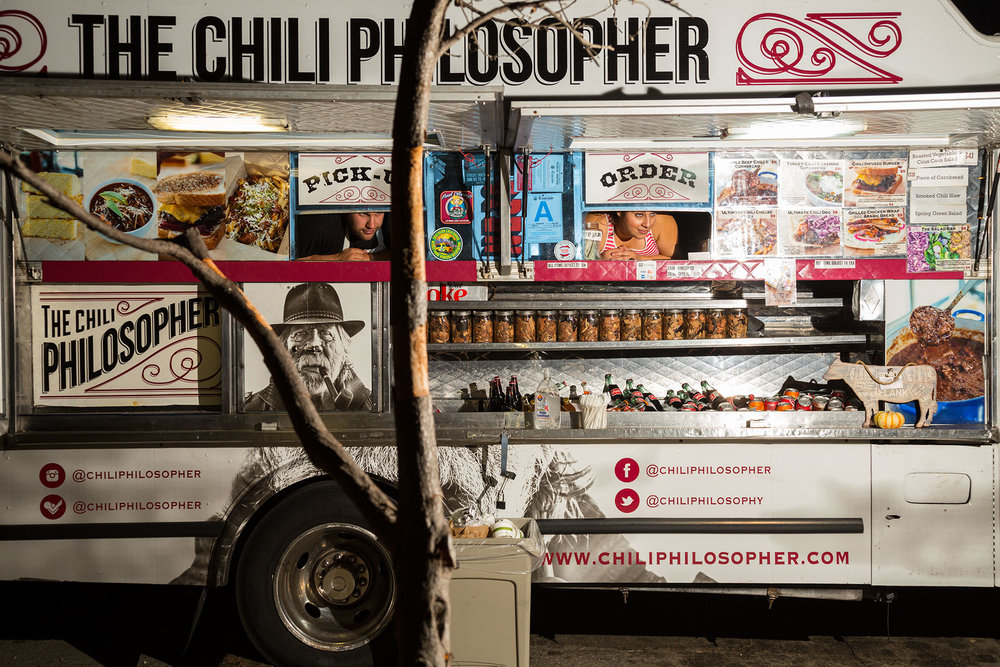 Down-home dishes meet high-end, locally sourced ingredients in the Chili Philosopher's food. A strong brand identity and an aggressive social media strategy are essential to differentiate trucks in an increasingly crowded marketplace.  Los Angeles, CA.
