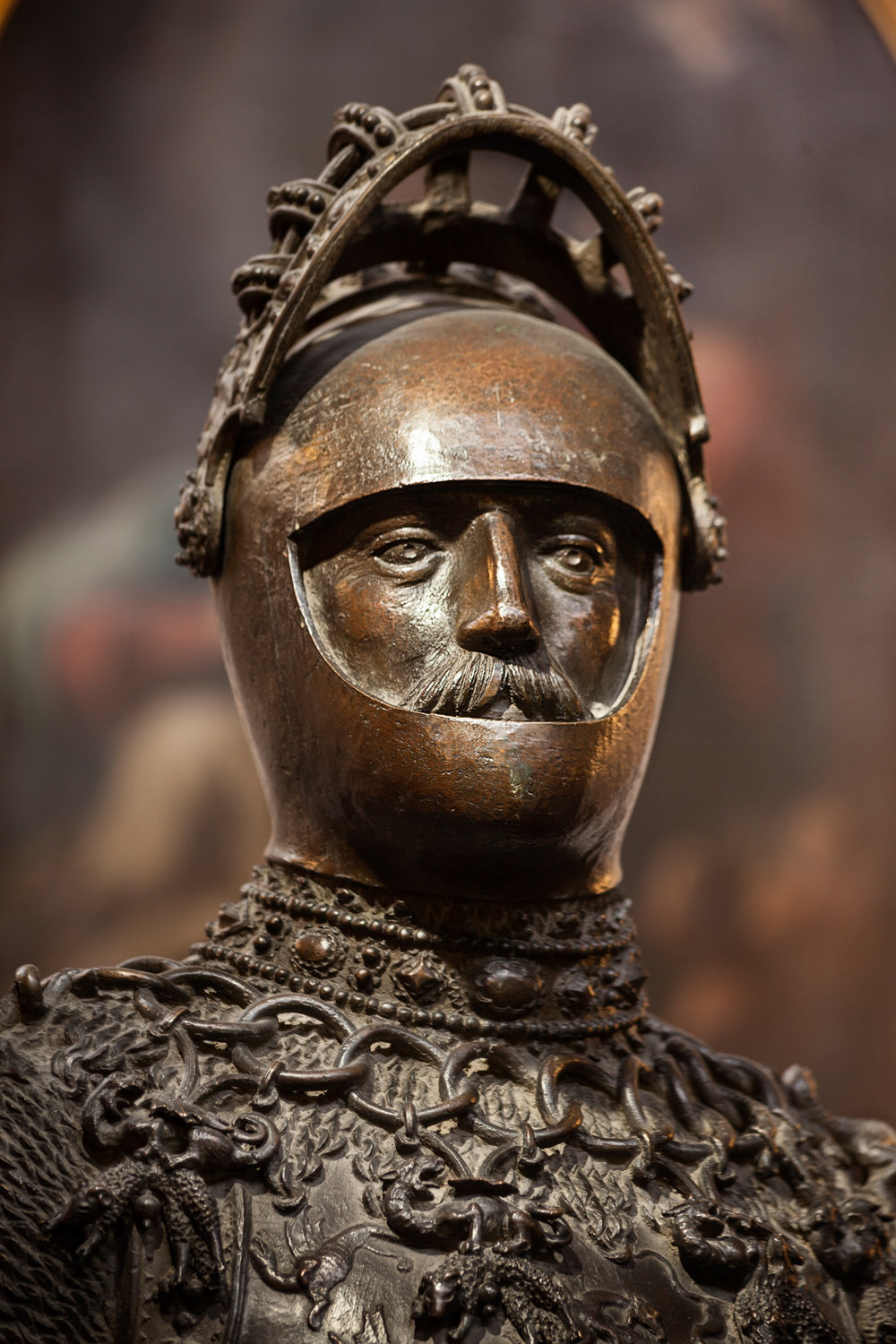 A bronze statue of King Arthur, legendary king of the 6th century Britons, is located in the Royal Chapel at Innsbruck, Austria, on the grave of Emperor Maximilian I. The cast was created by Peter Vischer the Elder in 1513 according to a design by Albrecht Dürer in 1509.  Innsbruck, Austria.
