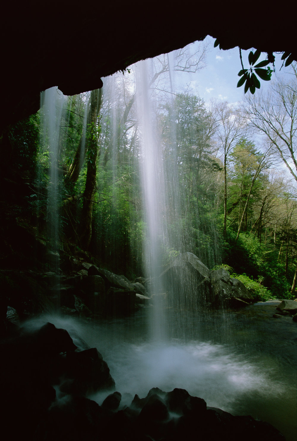 One of the most visited waterfalls in the Smoky Mountains, Grotto Falls is located up the Trillium Gap Trail near Gatlinburg, Tennessee.  Trillium Gap Trail, Tennessee