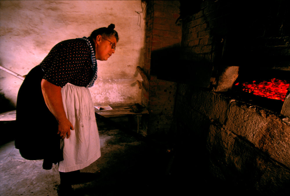 A villager peers into the fiery mouth of the communal oven.  Röllshausen, Germany