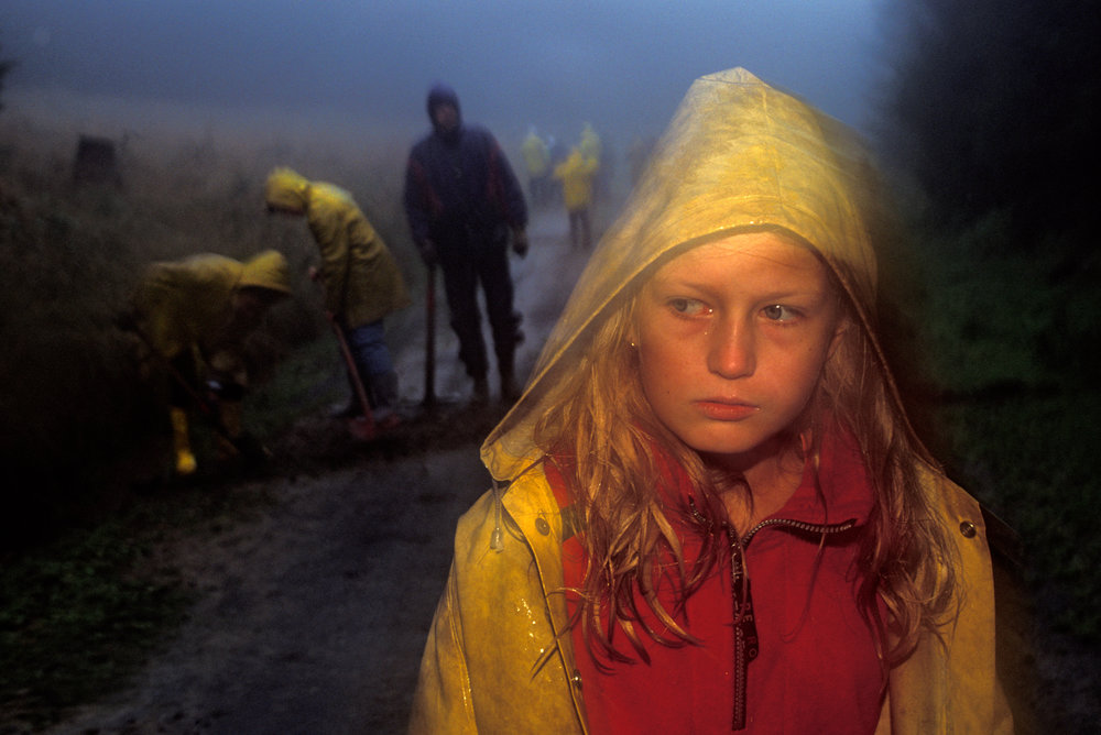 A child pauses resentfully while working in a rainy forest.  Hoher Meisner Mountain, Germany