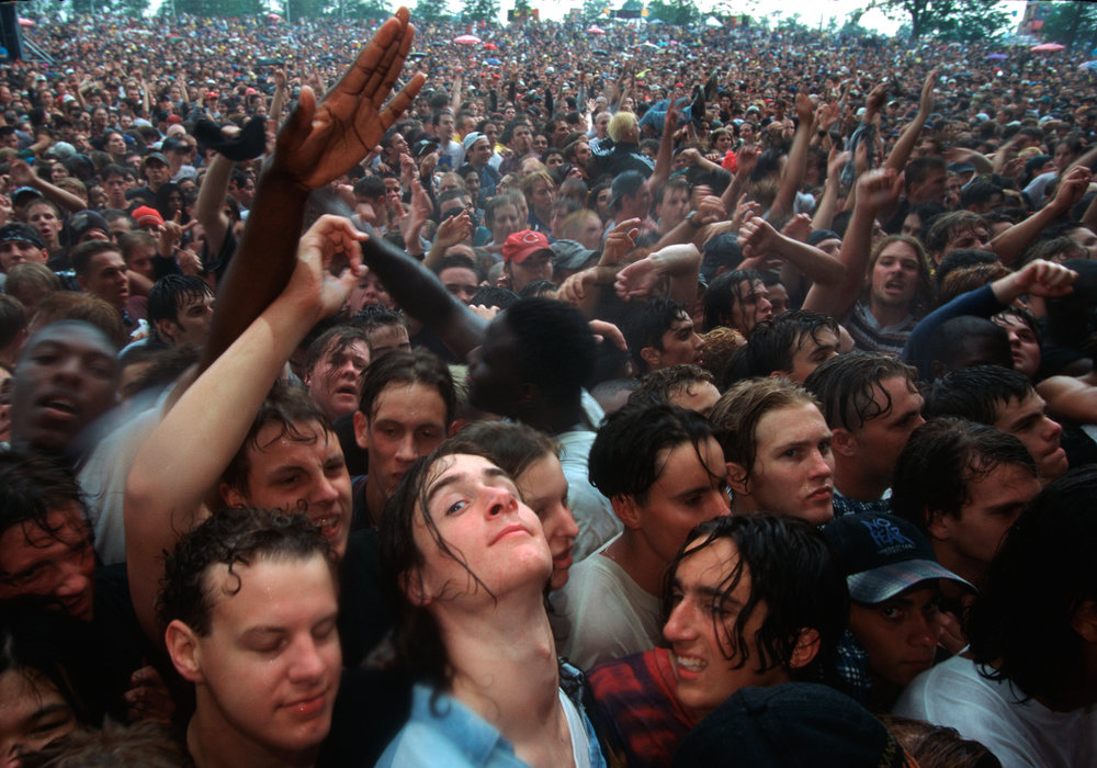At Toronto's Lollapalooza, staged in the nearby city of Barrie, a young crowd cheers on bands like George Clinton, The Beastie Boys and Smashing Pumpkins.