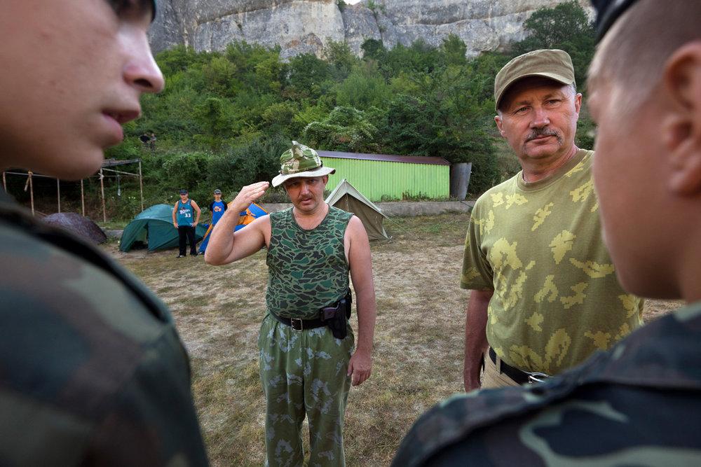 The dress code is camouflage for children 8-16.  Eski-Kermen Region, Crimea