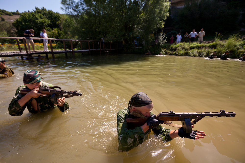 Drills for the youngsters even include crossing through water with firearms.  Eski-Kermen Region, Crimea