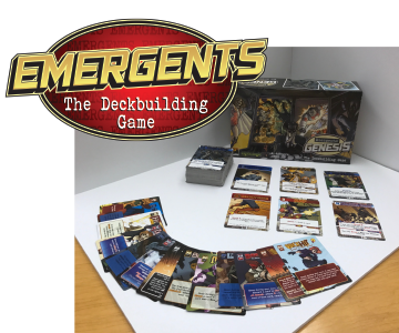 Emergents: Genesis is a PvP, multiplayer deckbuilding game where players take on the role of powerful superheroes—known in this world as Emergents—and battle against the other players in the game to be the last person standing. Players customize their decks based on four classes of superpowers in a fast-paced game that can be played by two to four players. Designed by Urban Island Games and Top8Magic, Emergents: Genesis introduces innovative, interactive mechanics to the deckbuilding game that will appeal to all fans of both the superhero genre and interactive card games.