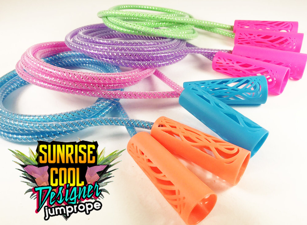 Sleek & stylish design allows the Designer Jump Rope to stand out from the rest. Whether its in the aisle, your back yard or on the runway, Designer Jump Ropes are sure to catch everyone's eye. Designer Jump Rope comes in 6 classy color combinations with shiny foil woven inside each rope!