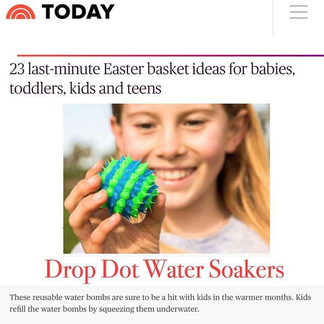 Our Water Soakers were included in TODAY.com's Easter Gift guide! #kessplay #easter #eastergifts #easterbasket #watersoakers #dropdotballs #dropdots