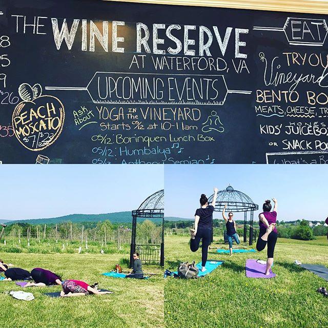 Join me and @vawinereserve for the LAST Yoga in the Vines of 2018! 🌞🧘♀️🍷 #yogaing #yoga #optoutside #namaste #outdooryoga #yogainnature #yogainthevines #va #waterford #virginiawineries #yogaoudoors #yogaeveryday #everydayyoga #yogaforeveryone #yogainthewild #fitness #health #workout #yogi #yogaposes #yogaeverwhere #balanceforeveryday #dancerpose #savasana #vineyardyoga #yogalove #yogaanywhere #yogalife #yogapractice