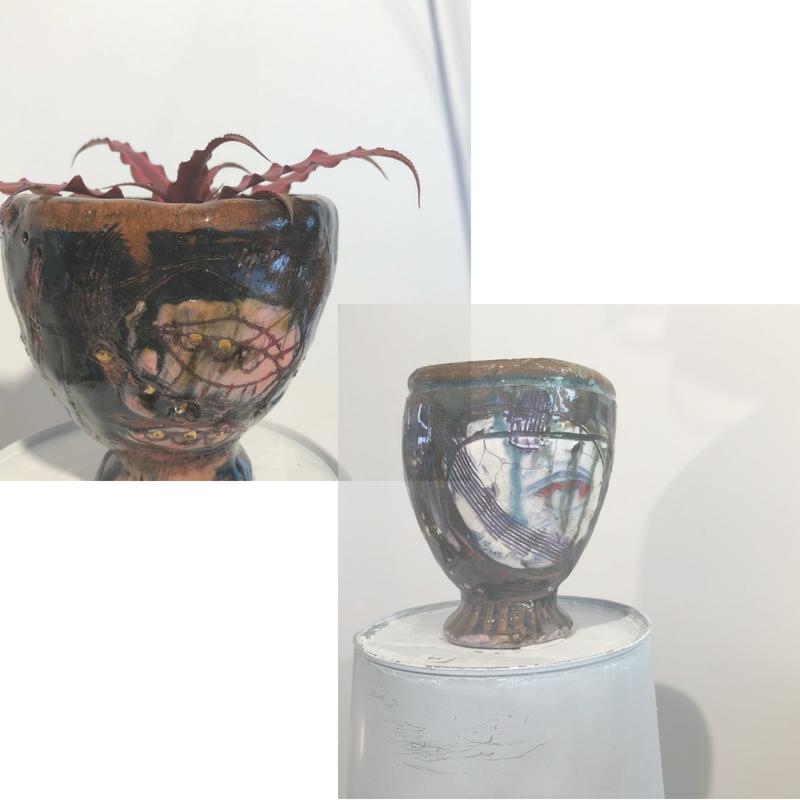 Small mood vessels by Amanda Kopas, glazed, fired and sealed eathenware, 2018