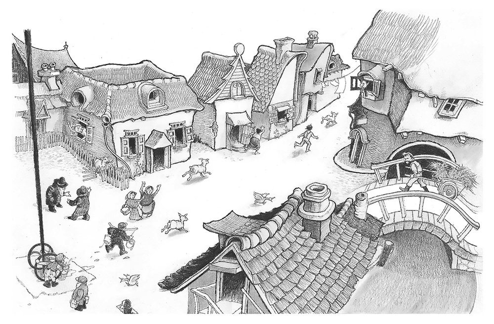 Town Scene from And Twelve Chinese Acrobats by Jane Yolen