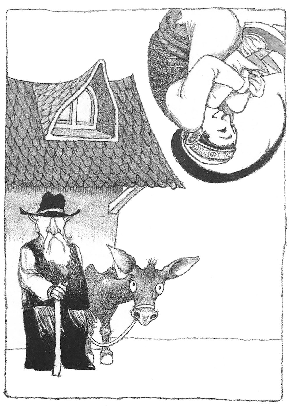 Pencil illustration single leap with mule From And Twelve Chinese Acrobats by Jane Yolen
