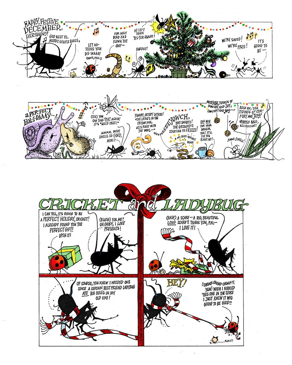 Cricket Magazine December comic: Cricket and the ladybug