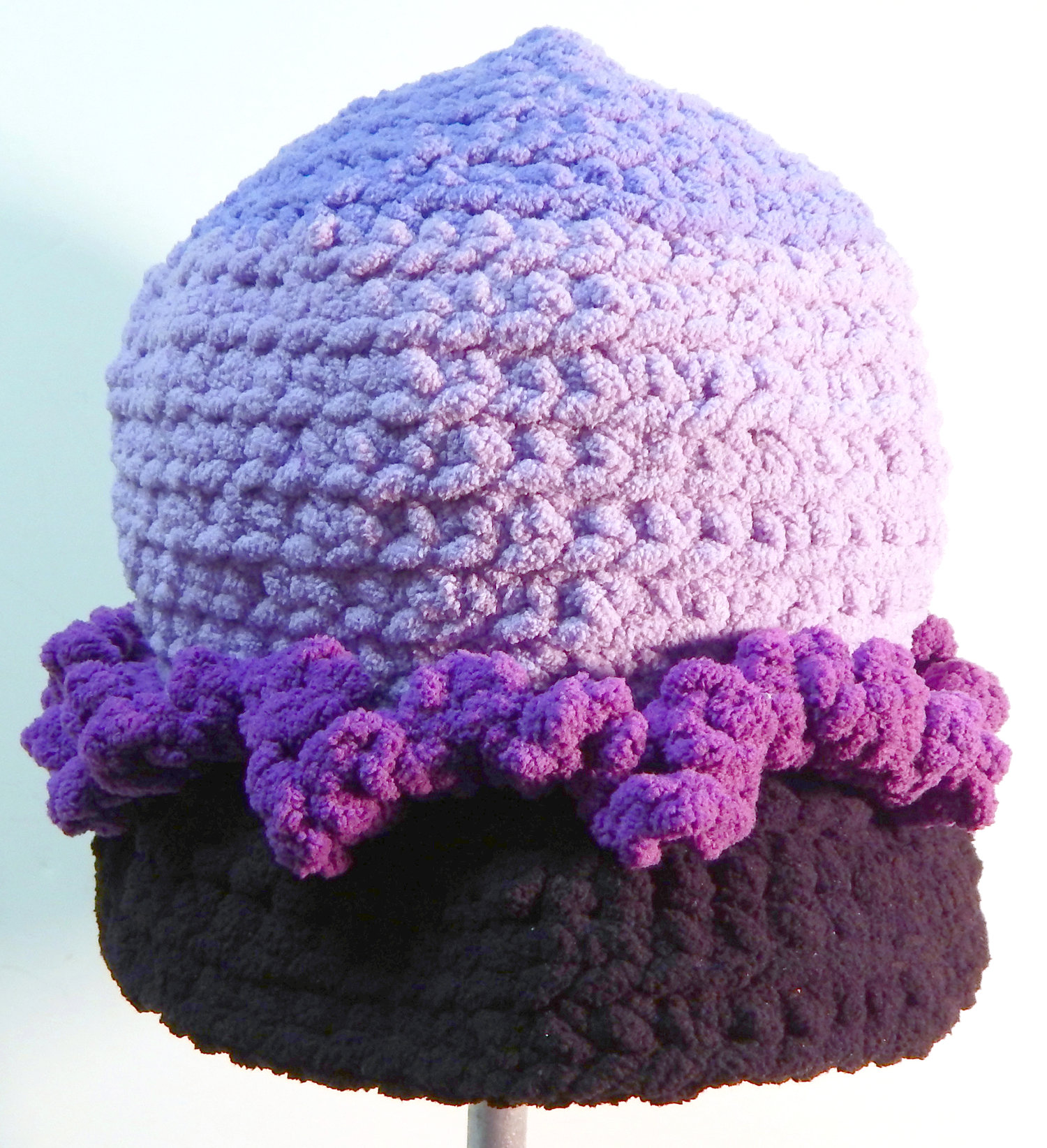 Handmade Carina Cap  S196 in Lilac with Black Visor and Purple Ruffled  Ribbon Band 9ce06198199a