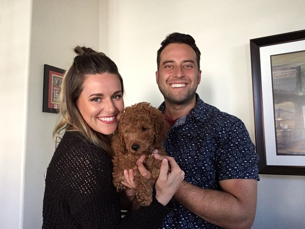 Me, my boyfriend and our puppy, Cheddar
