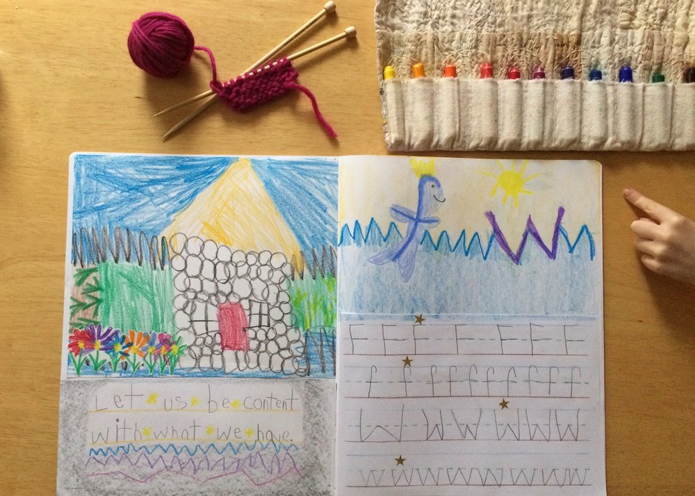 Main lesson book pages from the story The Fisherman and his Wife; letters f and w