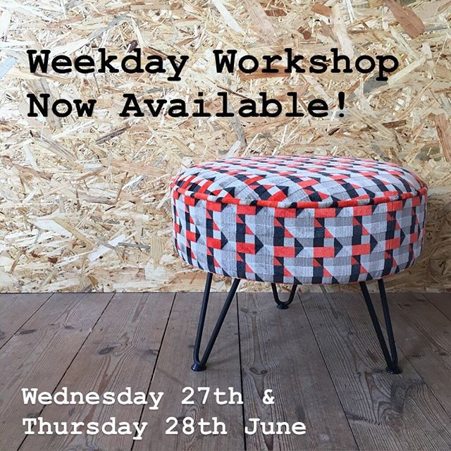 We'll soon be taking a little break from our workshops, but before we put down our tack hammers we've added a weekday workshop! We know that weekends aren't easy for everyone so could this be the workshop for you? Just four places available (and we still have a couple of weekend places up for grabs too!) Link in bio 😊