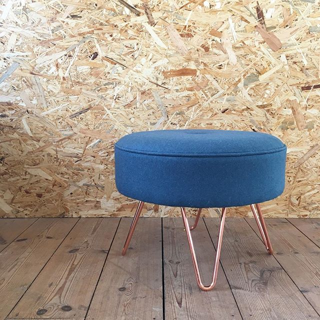 A little one off project in teal wool with four copper legs. What do you think?  #upholstery #stourbridge #kirkbydesign #hairpinlegs