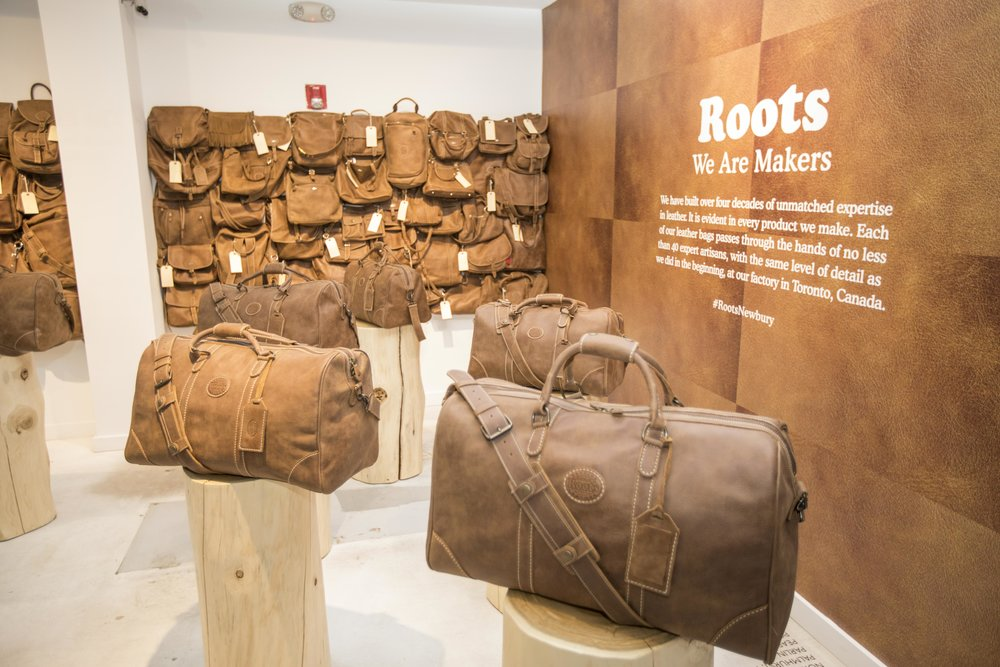 The Heritage Leather Room with classic Banff bag, at Roots Legends on Newbury.
