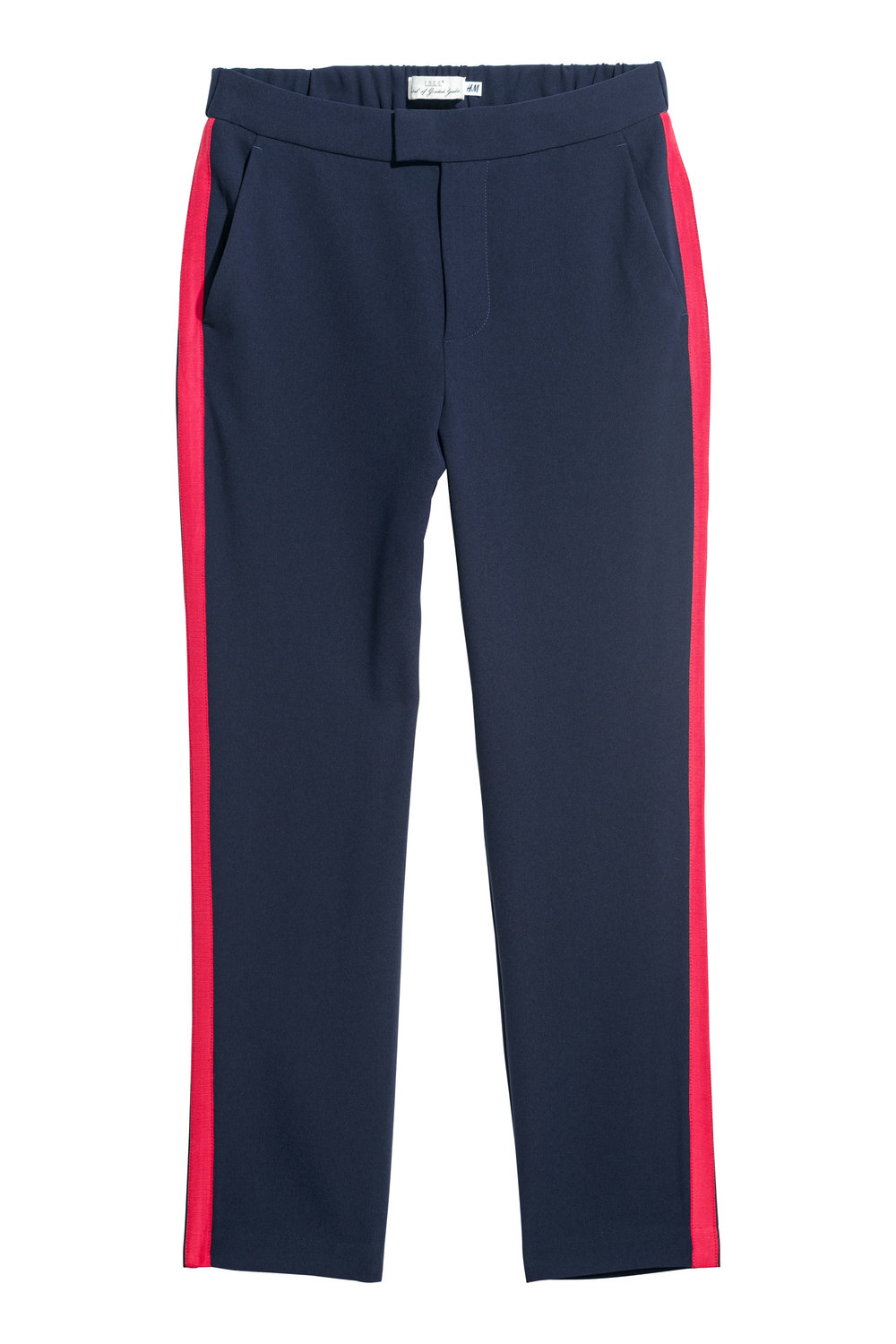 "Fashionable Pants with red ""Baseball-like"" Stripes"