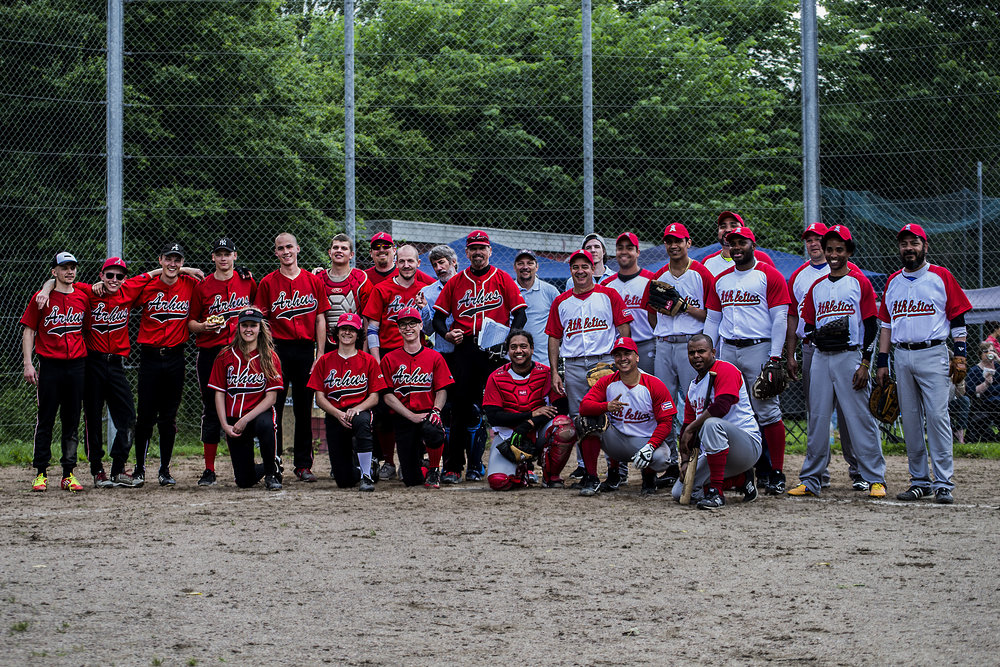 Århus Baseball Softball Klub Baseball Team (Left) and Aarhus Athletics Baseball Club Baseball Team (right), year 2017