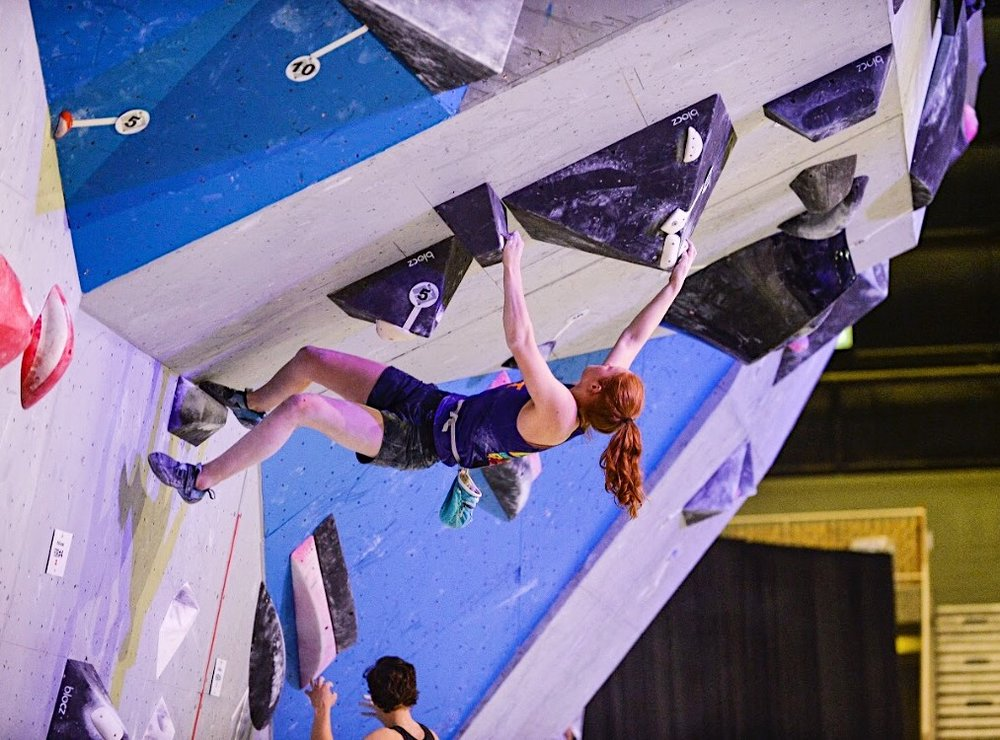 Aubrey climbing at Nationals. Photo by Lucid Images UT