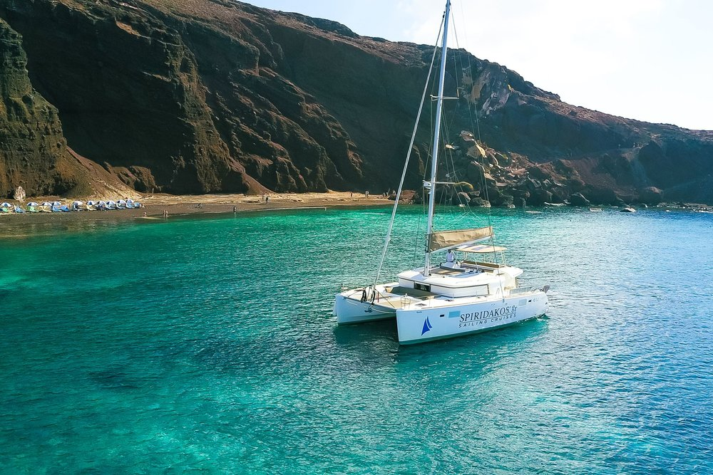Dine, drink, swim, snorkel, relax and plenty more, all while cruising around Santorini aboard a luxurious catamaran cruise. View the island from a different perspective