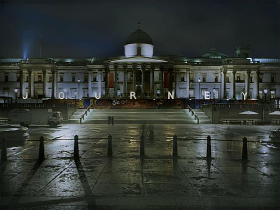 The Journey at night, Trafalgar Square, London, 2012.