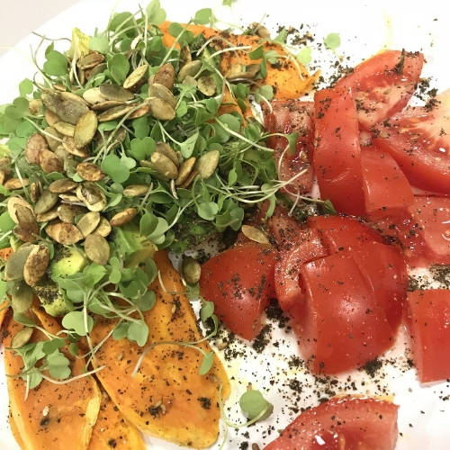 When I get tired of toast, I use sauteed sliced sweet potatoes.Sweet potatoes are an excellent source of vitamin A,vitamin C, manganese, copper, pantothenic acid,vitamin B6,potassium,dietary fiber, niacin, vitamin B1, vitamin B2 and phosphorus. -